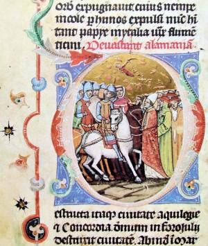 El Santo ante Atila, rey de los hunos. Miniatura gótica en el Cronicón de Kepes (1358).