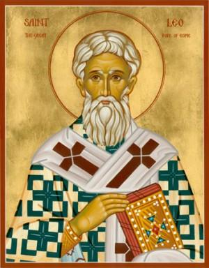 Icono ortodoxo anglosajón del Santo en su atuendo de obispo de Roma.