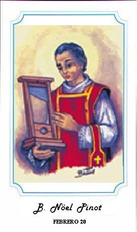 """Estampa del Beato con su instrumento de martirio, la guillotina. Ilustración perteneciente a la serie de Alberto Boccali (""""Bertino"""")."""