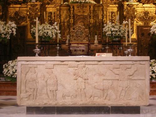 Sarcófago paleocristiano atribuido a San Crispín de Écija.