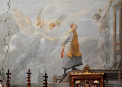 El Beato sube al cadalso. Fresco contemporáneo en una iglesia francesa.