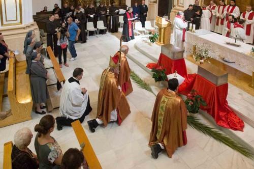 Ceremonia del traslado de los restos a la iglesia murciana de La Merced.