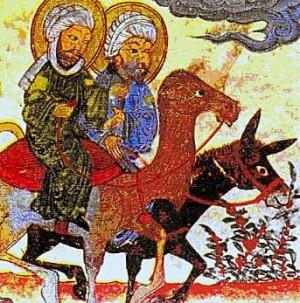 Ilustración de Jesús (montado sobre el borrico) y Mahoma (sobre el camello) en un antiguo Corán.