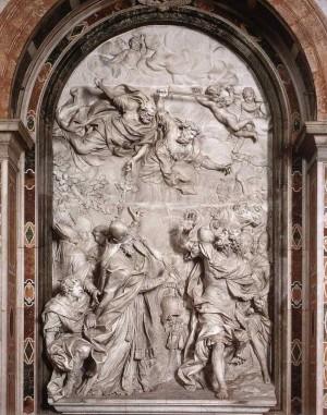 Encuentro entre el Santo y Atila, rey de los hunos. Relieve barroco de Alessandro Algardi (1646-56). Altar-sepulcro del Santo en la Basílica de San Pedro del Vaticano, Roma (Italia).