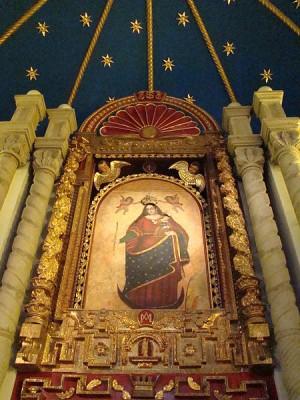 Imagen de Nuestra Señora del Socavón venerada en su Santuario en Oruro, Bolivia.