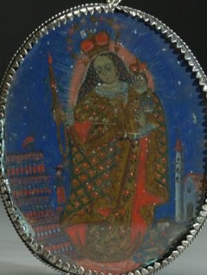 Medalla decimonónica pintada popularmente con el Patrocinio de la Virgen del Socavón sobre el ejército de Bolivia.