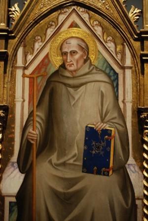 Detalle del Santo en un retablo gótico italiano.