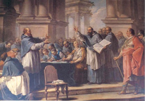 San Agustín discutiendo con los donatistas. Lienzo barroco.