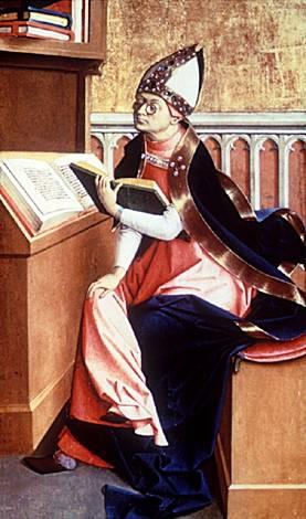 Tabla gótica de San Agustín en su estudio.