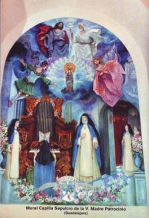 Aparición de la Virgen del Olvido a sor Patrocinio. Mural del convento concepcionista de Guadalajara, España.