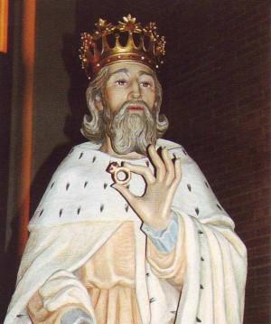 Imagen de San Eduardo III el Confesor, venerada en su parroquia de Nichelino (Italia).
