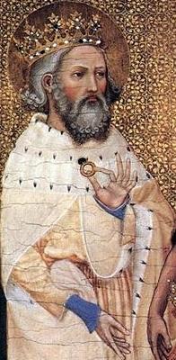 Detalle de San Eduardo el Confesor en el Díptico de Wilton (ca. 1395). National Gallery, Londres (Reino Unido).