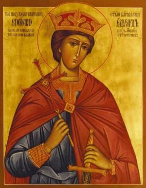 Icono ortodoxo anglorruso de San Eduardo, rey mártir de Inglaterra.