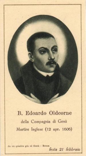Estampa del Beato Eduardo Oldcorne, jesuita mártir inglés.