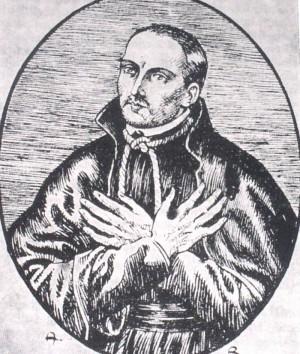 Grabado del Beato Eduardo Oldcorne, jesuita inglés mártir.