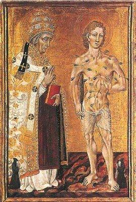 Tabla gótica de los Santos Fabián y Sebastián, conmemorados el 20 de enero.