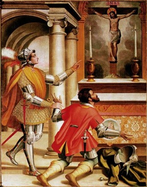 La vocación de San Juan Gualberto. Lienzo renacentista.