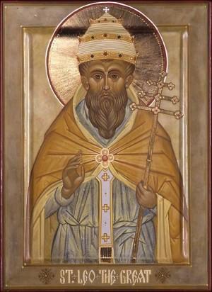 Icono ortodoxo anglosajón del Santo, revestido en el atuendo de pontífice.