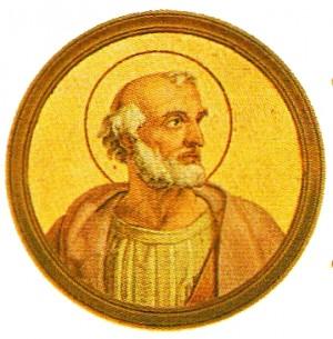 Medallón del Santo en la galería de Papas de la Basílica de San Pablo Extramuros, Roma (Italia).