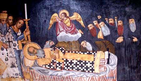 Sepelio del Santo. Fresco ortodoxo griego en su sepulcro del monasterio Dionysiou, monte Athos (Grecia).