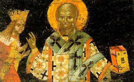 San Nifón junto a San Neagoe Basarab. Fresco ortodoxo rumano.