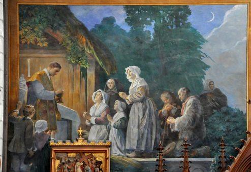 El Beato celebra la misa clandestian. Pintura de René Victor Livache.