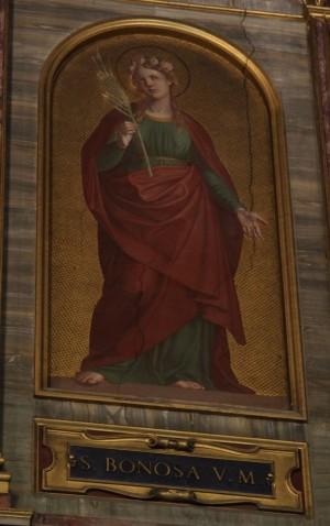 Pintura decimonónica de Santa Bonosa. Iglesia de Santa Maria in Trastevere, Roma (Italia).