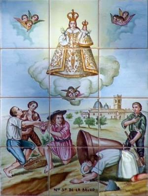 Cerámica votiva que representa la leyenda del hallazgo de la patrona de Xirivella. Font de la Penya, Olocau, Valencia (España).