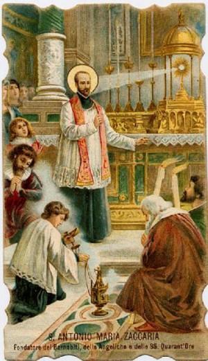 Estampa devocional de San Antonio María Zaccaria.