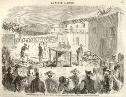 """Martiro del Santo. Grabado de """"Le Monde illustré"""", número del 27  de febrero de 1858. Fuente: http://www.dunwich.org/genea/fg/martyrerp.html"""