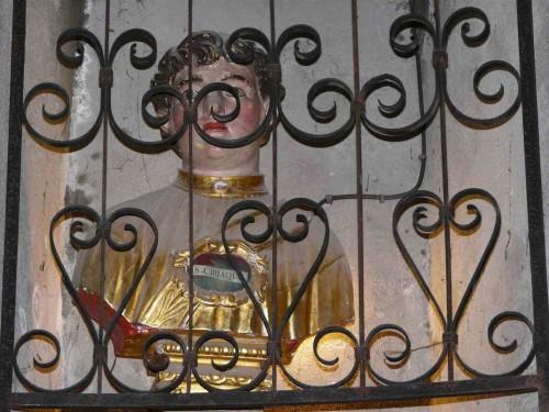 Busto-relicario en la iglesia de San Ciríaco, Saint-Béat (Francia).