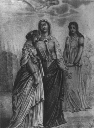 Grabado de las Santas Claudia, Hortensia y Agatoclia. Un ángel les ofrenda la palma del martirio.