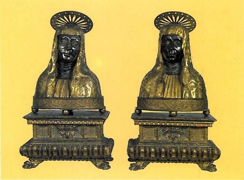 Bustos relicario de las Santas venerados en la abadía homónima de Arezzo, Italia.