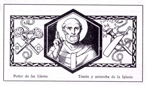 """Ilustración y atributos del Santo, obra de J.M.B. Volumen """"El Santo de Cada Día"""" editado por Edelvives, 1960."""