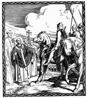 """El Santo ante Atila, rey de los hunos. Ilustración de J.MB. para """"El Santo de Cada Día"""", editado por Edelvives, 1960."""