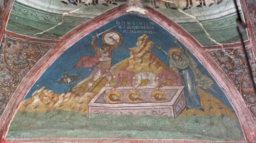 Martirio de las tres hermanas. Santa Sofía alza los brazos en señal de lamentación. Fresco ortodoxo en el monasterio Decani (Serbia).