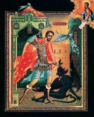 Icono ortodoxo ruso del Santo sometiendo al diablo.