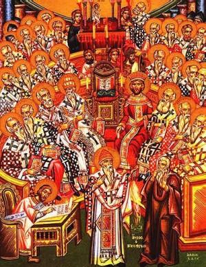 Icono ortodoxo griego del primer Concilio de Nicea.