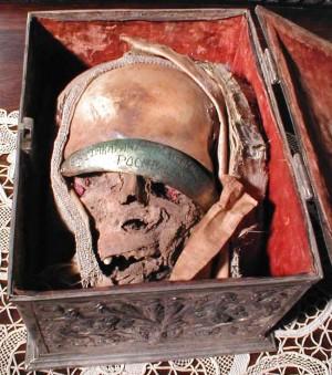 Cráneo de Santa Metrodora. Monasterio Hurezi, Rumanía.
