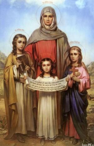 Icono naturalista ruso que representa a Santa Sofía y sus hijas, mártires romanas.