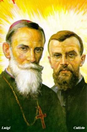 Estampa conmemorativa de la canonización de Luis Versiglia, obispo; y Calixto Caravario, presbítero.