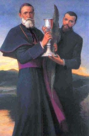 Estampa de Versiglia y Caravario con el cáliz rebosante de sangre que soñó San Juan Bosco.