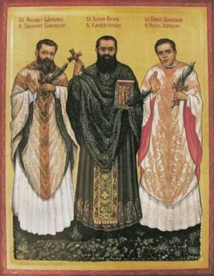 Icono moderno de los tres Beatos.