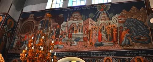 Fresco de su martirio en la iglesia a él dedicada en su ciudad natal.