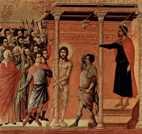La flagelación. Tabla gótica de Duccio di Buoninsegna. Museo catedralicio de Siena (Italia).