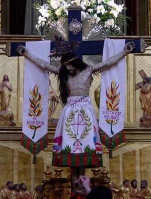Vista de la imagen del Cristo del Sahúco, patrón de las Peñas de San Pedro, Albacete (España).