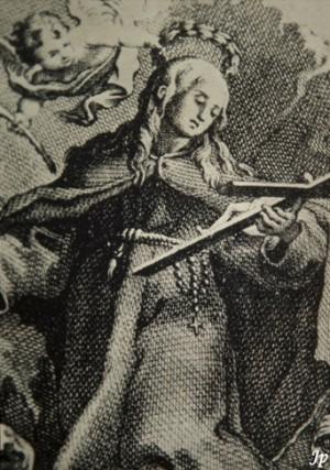 Grabado de Santa Engracia, ermitaña y mártir de Segovia, que no debe ser confundida con sus homónimas de Zaragoza y Braga.