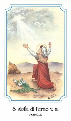 """Estampa de Santa Sofía, mártir de Fermo, perteneciente a la serie de ilustraciones de Alberto Boccali (""""Bertino"""")."""
