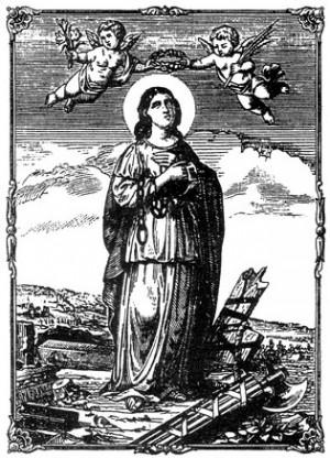 Grabado de la Santa con su iconografía habitual: portando las cadenas de San Pedro.