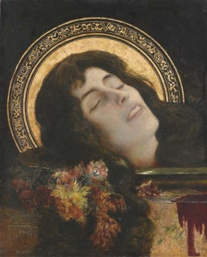 """""""Theodora Virgo"""", lienzo de Henri Leriche (1892) que muestra la cabeza cortada de la Santa sobre una bandeja."""